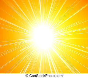 Hot sunshine - Rays of sunlight on yellow background