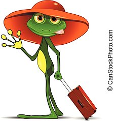 Frog with a suitcase - Illustration Frog with a Suitcase in...