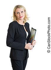 donna d'affari, sopra, isolato, appunti, presa a terra, mani, sorridente, bianco