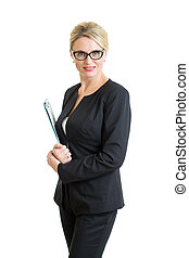 confident business woman weared eyeglasses isolated