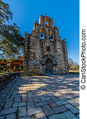 Spanish Mission Espada, Texas. - The Rustic and Historic Old...