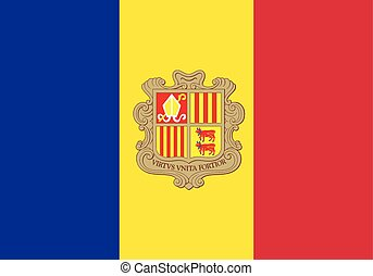 Andorra Flag - The flag of Andorra with coat of arms in red...