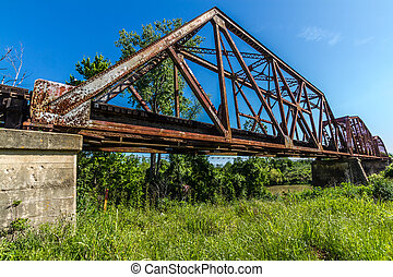 Old Railroad Truss Bridge - An Interesting View of an Old...
