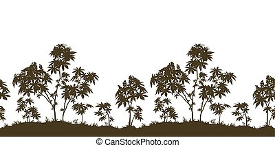 Seamless, Castor Plants and Grass Silhouette - Exotic...