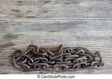 Metal chain on nice old wooden background, Copy space to...