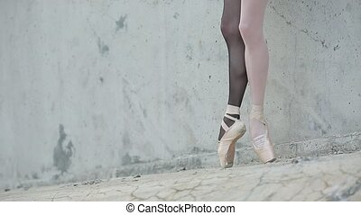 young graceful ballerina feet close-up - Video footage of...