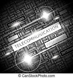 TELECOMMUNICATION. Word cloud illustration. Tag cloud...