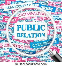 PUBLIC RELATION Word cloud illustration Tag cloud concept...
