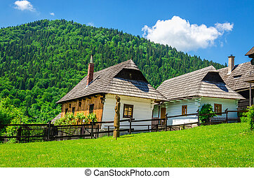 Wooden huts in  traditional village, Slovakia