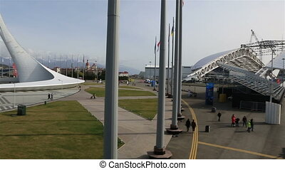 Panorama of Olympic Park in Sochi. - Sochi, Russia -...