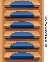 Wooden Stairs Treads Mats Endless - Wooden stairs with blue...