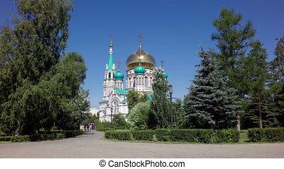 Uspensky Cathedral in Omsk - Omsk, Russia - June 26, 2015:...