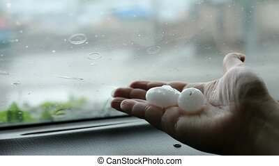 The Hailstones With A Diameter Of 15-20 mm Is On The Hand Of...