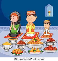 Happy muslim family enjoying iftar for Eid celebration in...