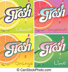 set of labels with fruit and fresh juice