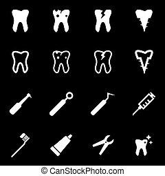 Vector white dental icon set