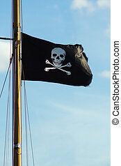 Flag of a Pirate skull and crossbones - Pirate ship flag of...