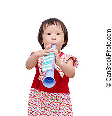 girl  with trumpet toy