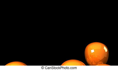 Orange Balloons On Black Background