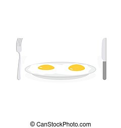 Scrambled eggs. Two fried eggs on plate. Cutlery, fork and knife. Food vector illustration