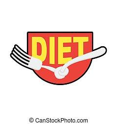 Diet logo, sign. Emblem of Fork with node. Patch stop food....