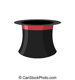 Top hat magician on a white background Black Hat Topper with...