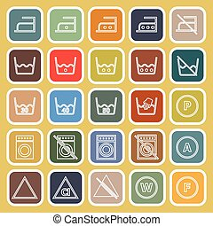 Laundry line flat icons on yellow background, stock vector