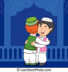 Muslim people hugging and wishing Eid in vector