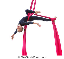 cheerful child training on aerial silks - Outdoor activity...