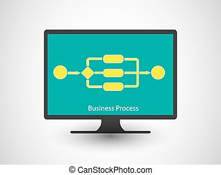 Concept of Business process - Vector illustration of a...