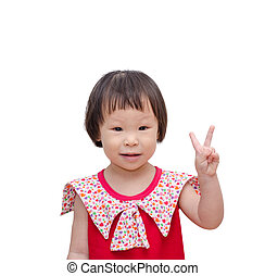 girl showing her hand means victory - Little Asian girl...