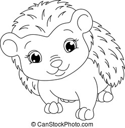Hedgehog coloring page - Image cute hedgehog on a white...