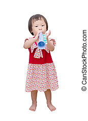 Asian girl with trumpet toy