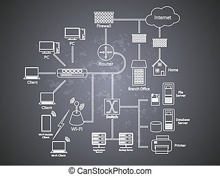 Concept of network diagram - Vector illustration of a...