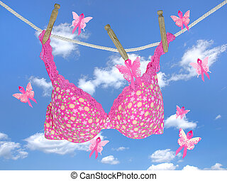 pink ribbon butterflies with bra - Breast cancer awareness...