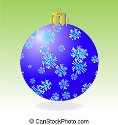 Fur-tree ball - Dark blue fur-tree ball with snowflakes on a...