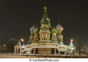 Intercession cathedral St Basils in night - Russia Moscow...