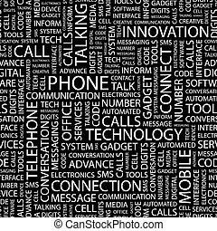 PHONE. Seamless pattern. Word cloud illustration.