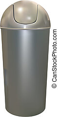 trash can - aluminum trash can on white background