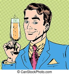 man with a glass of champagne date holiday toast - A man...