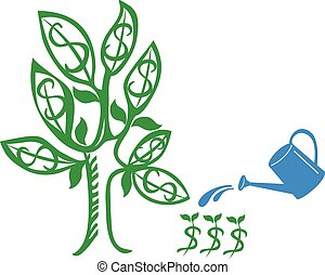 Money Tree - Money tree with a water can as investment...