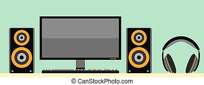 Computer monitor with keyboard acoustic loudspeaker and headphones