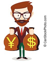 Businessman with a bag full of money Stock Vector...
