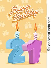 21 year Happy Birthday Card Vector illustration
