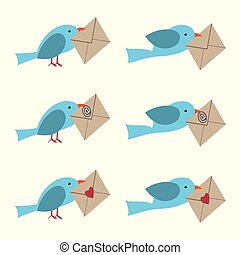 Bird with envelope set