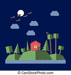 Night landscape flat style - Night landscape with small...