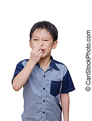 boy wipes his nose by tissue paper