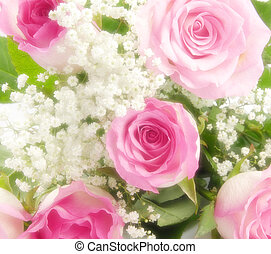 Red roses and a lace - Beautiful soft pink roses bouquet,...