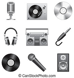 Music icons - Set of 9 silver music icons, isolated on white...