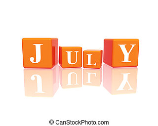 july in 3d cubes
